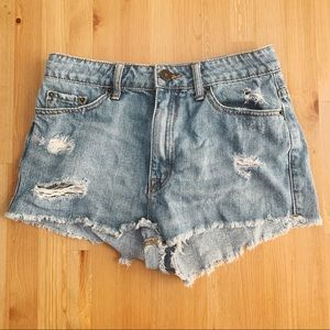BDG distressed hi rise cheeky shorts